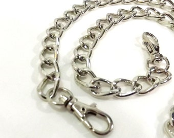 24 Inch Bevel Cut Nickel Purse Chain  Free U.S. Shipping