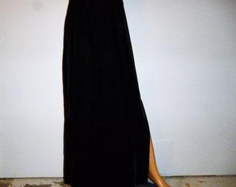 "Vintage 60's - Alex Colman - Black - Velvet  A-Line  - Side Slit - Maxi - Skirt - 30"" Waist"