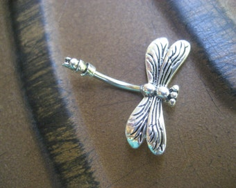 Belly Button Jewelry Ring- Dragonfly Barbell Firefly Navel Bar