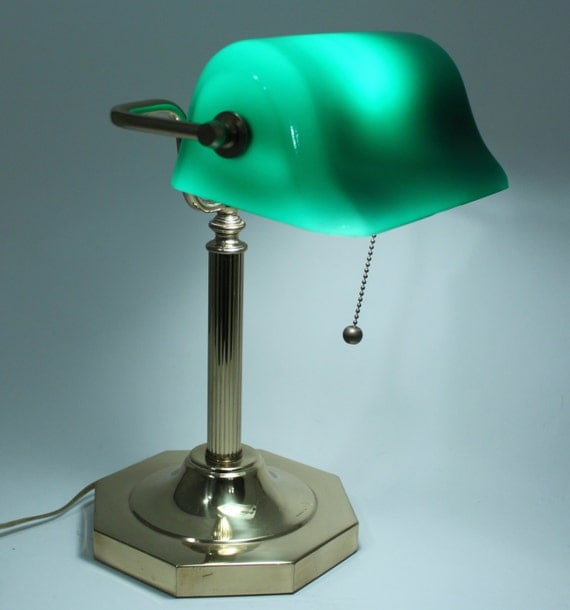 Vintage Piano Bankers Table Lamp Green Glass By Pinkdandyshop