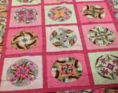Cartwheels Pink Modern Quilt - twin quilt -  large tween lap quilt - 60 x 74 - nellie j designs