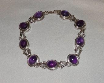 Vintage Sterling Silver and Amethyst Cabochon Link Bracelet
