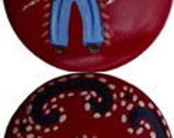 Ensemble de 8-2 pouces rouge foncé COWBOY & BANDANA boutons - boutons en bois peint de main