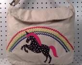 CUSTOM ORDER-SOLD-Unicorn on satchel/messenger bag