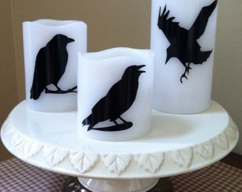 Black Raven Flameless Candles, set of three