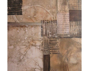 Original Mixed Media Abstract Collage Painting. Writes of Passage 1