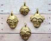 African Mask, Face Brass Baule, Baoulé Ivory Coast African Brass Handmade Africa Face Shapes