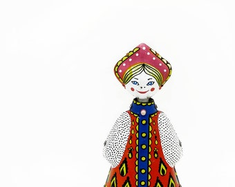 Mid Century Tin Toy Wind Up Folkloric Lady Tippy Head