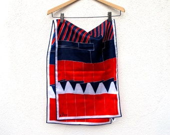Vintage Vera Neumann Scarf Red White Blue 14 by 43 Hand Rolled Ladybug
