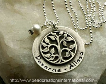 NEW Sterling Silver Disc with Two Names with a Soldered Large Family Tree Charm Hand Stamped Necklace