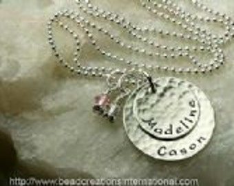 Mommy Stacked Sterling Siver Hand Stamped Necklace with 2 Names and Two Birthstones / Crystals