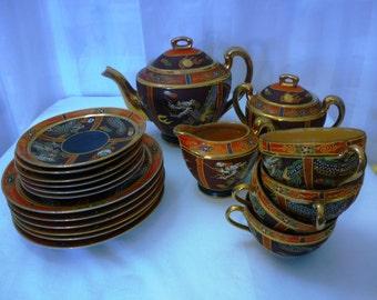 SALE Vintage 21 Piece Japanese Dragon Tea Set, Exquisite