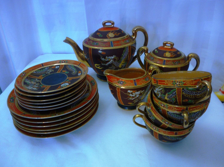 Sale Vintage 21 Piece Japanese Dragon Tea Set Exquisite