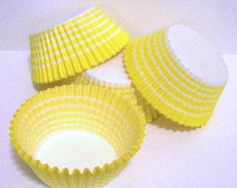 Yellow Circle Stripe Cupcake Liners- Choose Set of 50 or 100