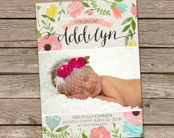 Birth Announcement : Addilyn Watercolor Foilage Birth Announcement - Girl