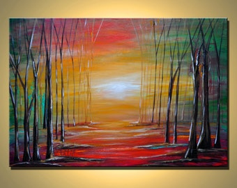 Original Contemporary Abstract Modern Fine Art Landscape Painting - Led by light- HUGE- 36 inches.