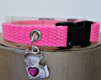 Pink Cat Collar Basic Webbing Style with Kitty Charm