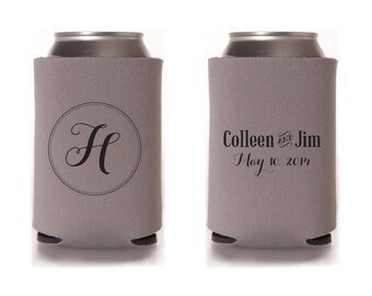 Custom Wedding Collapsible Can Coolers - Monogram