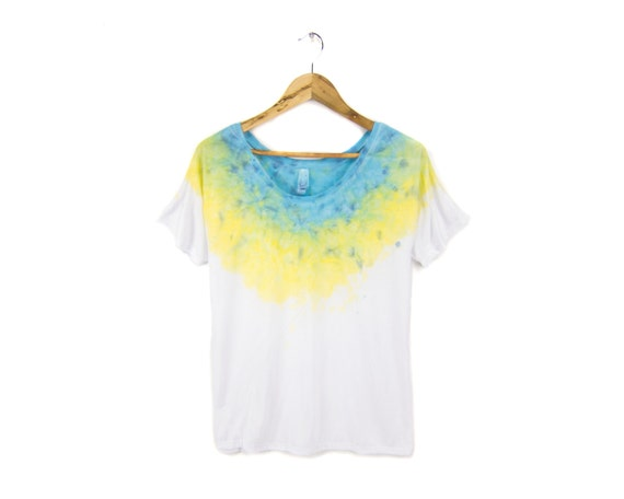 "Blue Gold Geode Tee - Original ""Splash Dyed"" Hand Painted Relaxed Fit Flowy Scoop Neck T-shirt in White - Women's Size S-2XL Q"