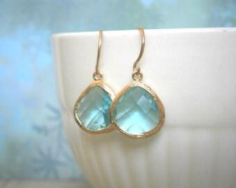 Aquamarine Glass Earrings, Gold Earrings, Bridesmaid Earrings, Best Friend Birthday