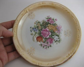 VINTAGE 1950s Antique ArnArt Floral Iridescent Handpainted, Gold Gilded Flowers & Trim, Porcelain / Bone China Small Plate Dish BEEHIVE 5112