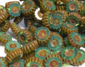 YEAR END CLEARANCE - Czech Glass 12mm Etched Wheel - Milky  Turquoise Green Picasso - 10 Beads