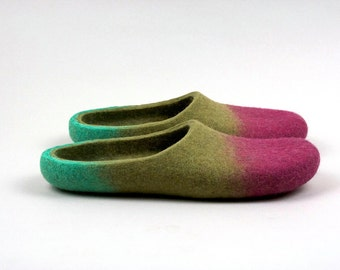 Sorbet Felted wool slippers Handmade to order