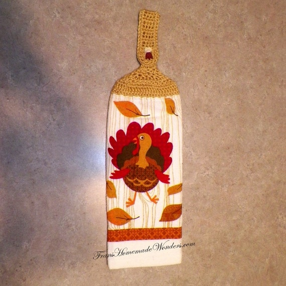Double Layer Hand Crocheted Top Cotton Hanging Kitchen Towels - Turkey