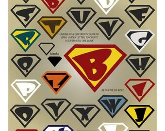 Superhero Alphabet SVG Files - Superhero Monogram SVG - Ai Svg Eps Gsd - Alphabet Cuttable SVG - Superhero Cricut Font - Vector Files