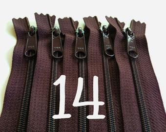 14 inch YKK handbag zippers, long pull, five pcs, 4.5 mm nylon coil, dark brown, YKK color 570, great for handbags, gadget cases, bags