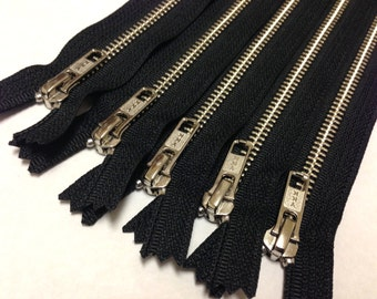 Silver teeth zippers, 9 inch zippers, TEN pcs, nickel zippers, black tape, wholesale, bulk metal YKK zips