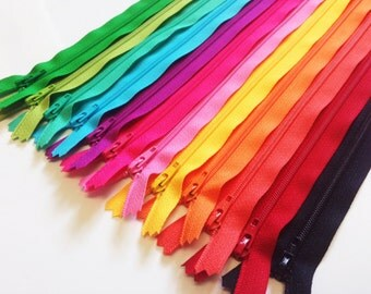 14 inch zippers, bright assortment, 12 pcs, dress, all purpose YKK zips, black, red, coral, orange, sunflower,