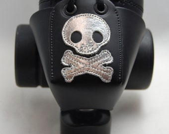 Leather Toe Guards with Silver Skull and Crossbones