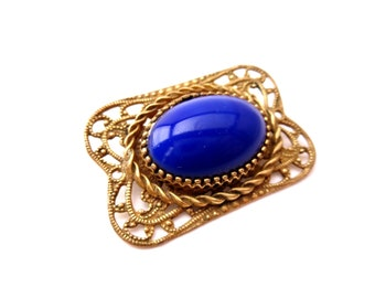 Royal Blue Oval Cabochon & Gold Brass Metal Art Deco Filigree Rectangular Shaped Metal Brooch