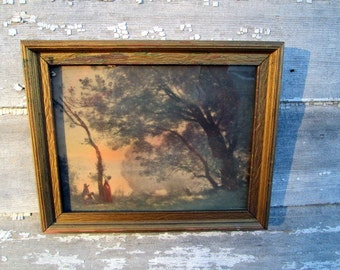 Antique Lithograph Print Woman and children gathering from a tree at Sunset