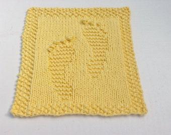 Hand Knit Yellow Baby Feet Dishcloth or Washcloth