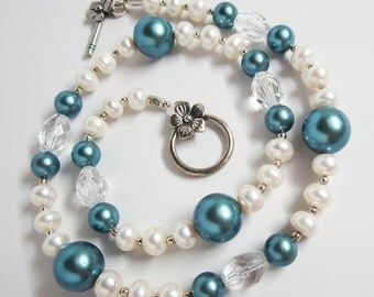 Blue and White Pearl Necklace, Pearl and Crystal Necklace, White and Blue Necklace, Teal & White Pearl Necklace, Blue and White Necklace