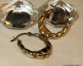 Scandinavian Gold over 925S Silver Hoop Earrings Sterling Silver Pierced