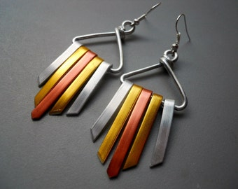 Tri Tone Copper Gold Silver Anodized Aluminum Xena Warrior Bold Goddess Tribal Tassel Wind Chime Earrings