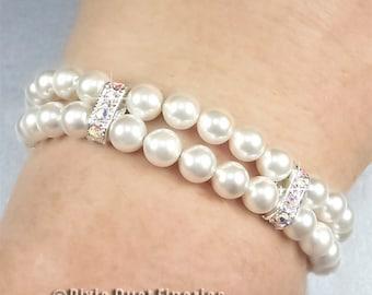 Pearl Bridal Bracelet, Swarovski Crystal and Pearl Bridal Bracelet, Double Strand Wedding Bracelet, Vintage Inspired Wedding Jewelry WB0059