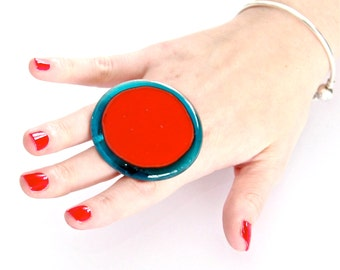 Glass Ring Handmade,  big bold turquoise and orange adjustable statement cocktail ring, BEACH BABE  2.3 inch