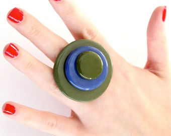 Cocktail Ring Ceramic - big bold oversized statement handmade ring - FABULOUS FALL - 1.8 inch