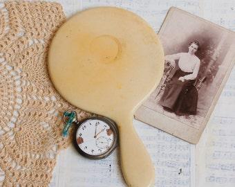 Vintage French IVORY Hand Mirror Bakelite Mirror Vanity Decor Downton Abby Art Deco