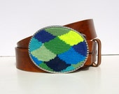 CLEARANCE Needlepoint Ocean Scallops Belt buckle