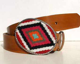 Needlepoint L.A. to N.Y. Eclectic Diamond Eye Belt Buckle