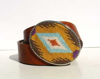 Needlepoint Autumn Eye Belt Buckle
