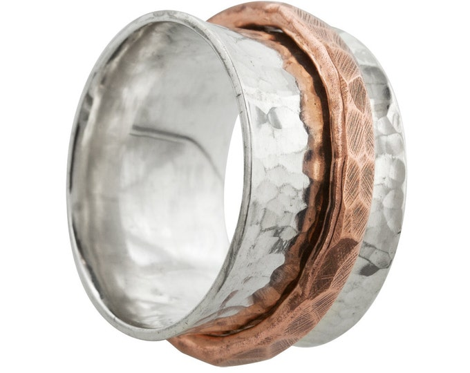Wide Hammered Silver Spin Ring With Copper Spinner Band // Made to order in your size