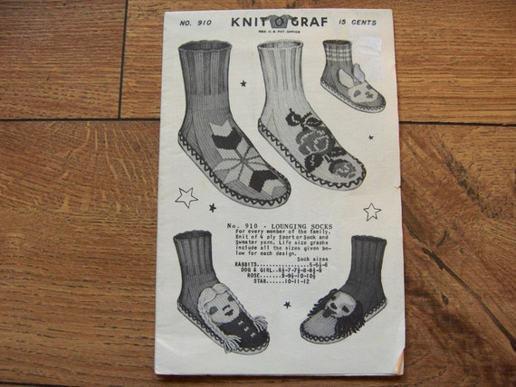 Vintage 1950 Knit O graf Graph Style knitting pattern 910 LOUNGING SOCKS for ...