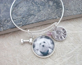 Pet Adjustable Bangle Bracelet - Favorite Pet or In Remembrance - Custom Photo - Personalized