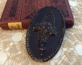 Old Metal Decorative Salvage Medallion Piece - Oval Basket of Flowers